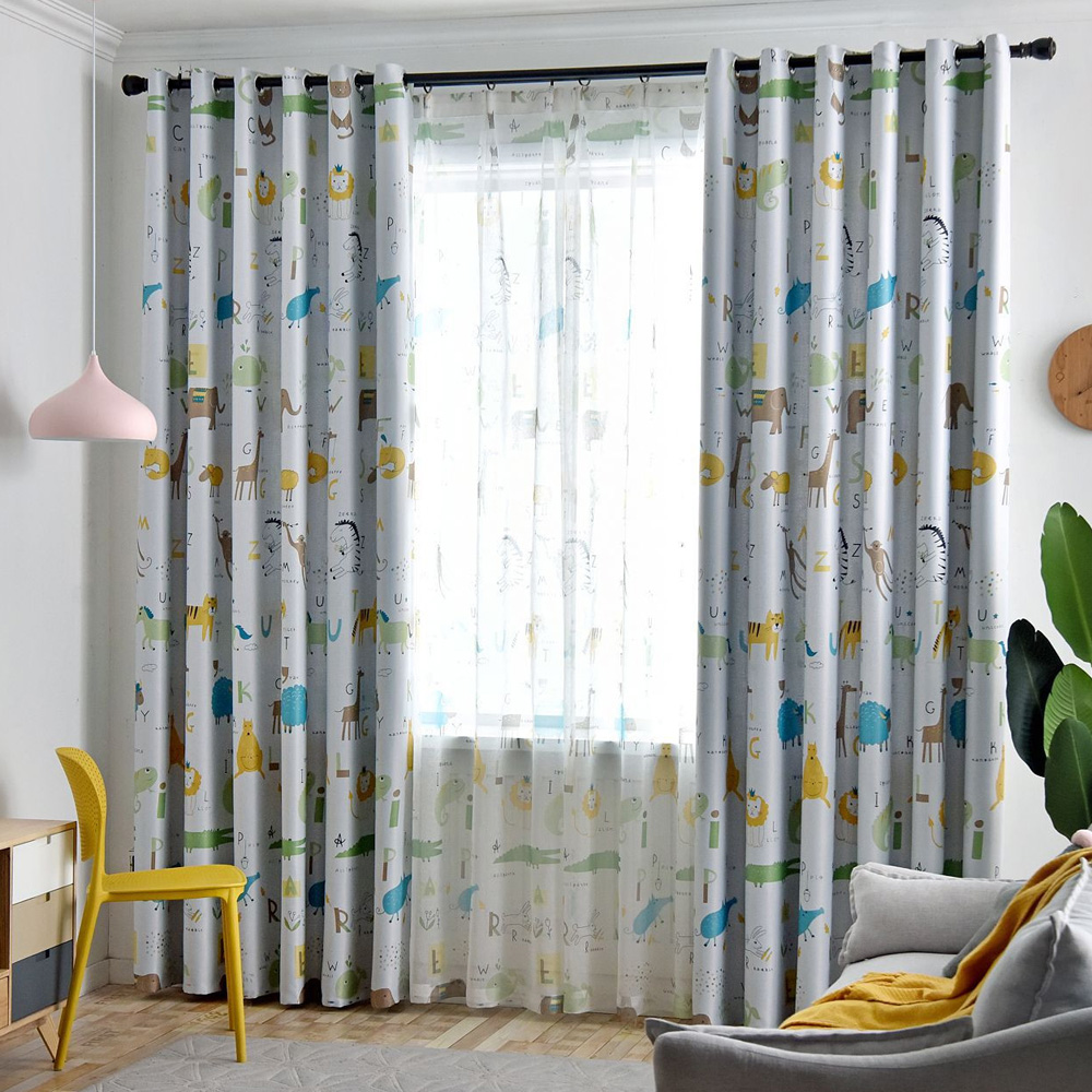 Kids Bedroom Blackout Curtains Lovely Animal Printed 1 Panel Polyester Fabric Kitchen Living Room Window Treatments School Drape