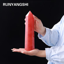 25-30cm Big Size Synthetic quartz Obelisk Wand Point Red Smelting Stone Healing Stones Tower Fengshui Crystal for Home Decoratio