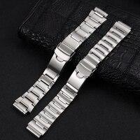 Correa de reloj de acero inoxidable, cierre de hebilla plegable, pulsera de plata para Seiko, accesorios de reloj, logotipo de textura cepillada