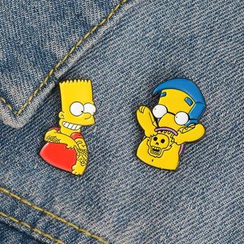 Funny Simpson Brooch for Women Broche Badge enamel Pin Metal  1