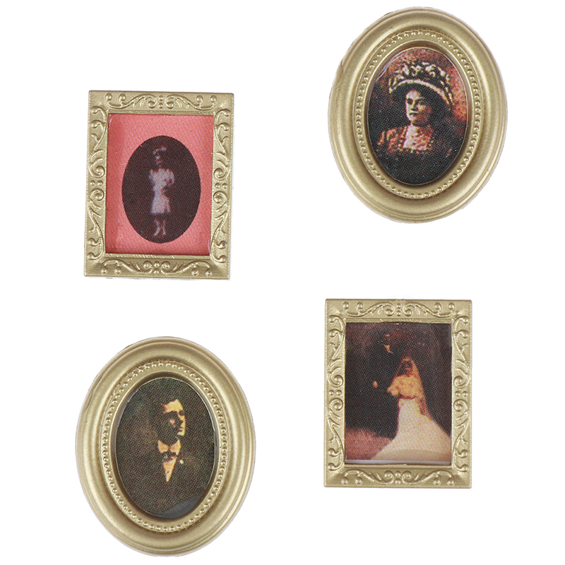 4PCS 1:12 Dollhouse Miniature Oil Painting Wall Picture Decoration Accessories Doll House Ornament For Baby Toys