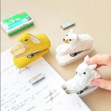 Mini Stapler Stationery School-Supplies Binding Office Student Wooden Log Animal Creative