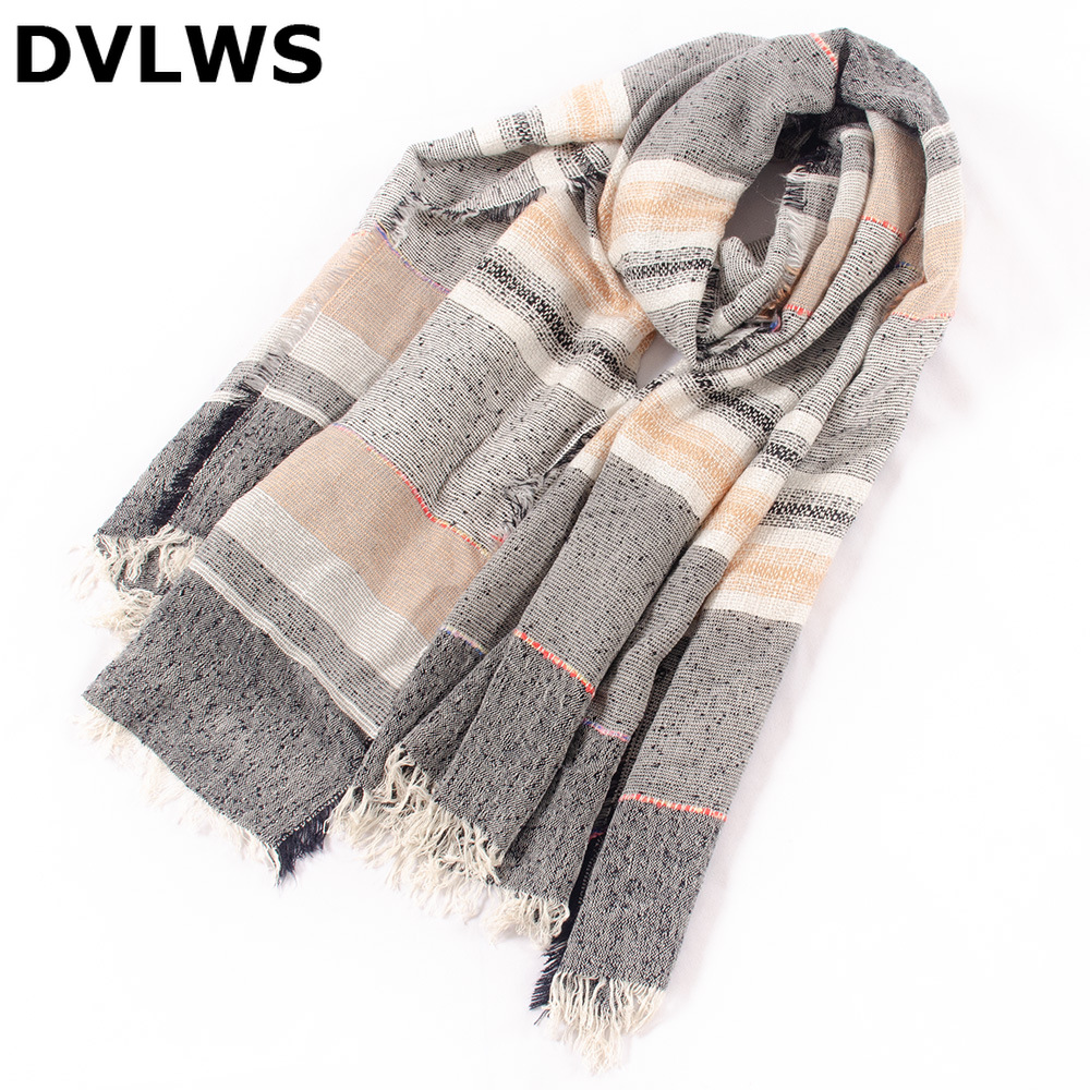 Blanket Scarf Splicecashmere Winter Plaid Shawls New And Contrast Women with Tassel Lattice