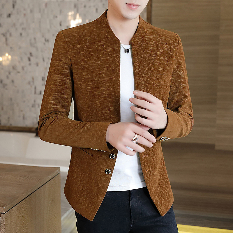 2020 Men Fall Collar Youth Trend Of Cultivate One's Morality Suit Pure Color Suit
