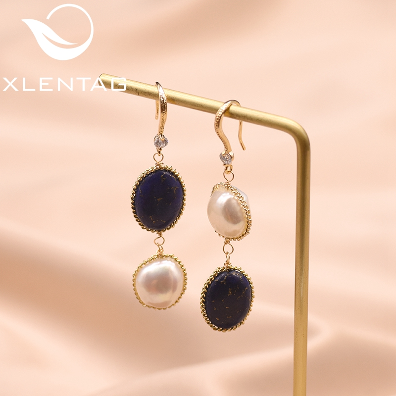 XlentAg Fresh Water Baroque Pearl Long Dangle Earring Natural Stone Lapis Lazuli Drop Earrings Women Luxury Jewelry GE0406