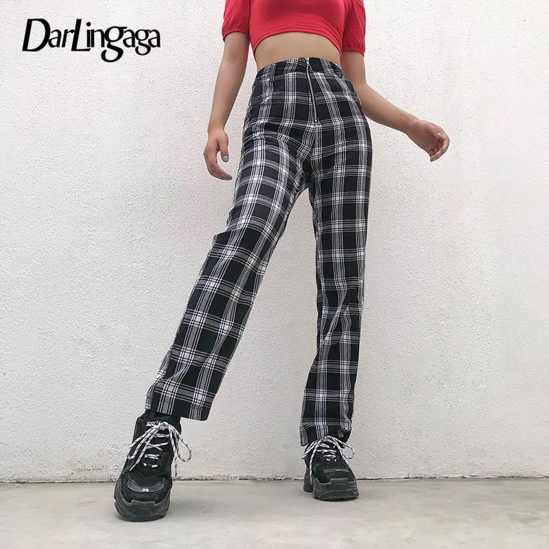 Darlingaga Casual Straight Pockets Plaid Pants 2020 Women Trousers High Waist Checkered Pants Harajuku Baggy Sweatpants Pantalon