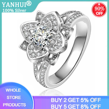 YANHUI New Design Flower Shape 925 Silver Gold Plating Round Cut 5A Cubic Zirconia Women Wedding Band Ring For Lovers' Gift J038 fantasy flower cute fairy rings elf angel cubic zirconia wings gold plating two toned women wedding ring gift jewelry d20