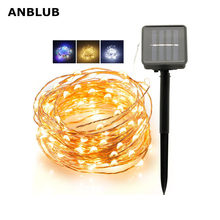 ANBLUB Outdoor 20M 10M LED Solar Lamp String Fairy Light Flash Garland Waterproof For Christmas Garden Street Holiday Decoration cheap 1 year ROHS 0044 IP65 None LED Bulbs Modern Lithium Battery 100 pcs LED chips 200 pcs LED chips