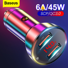 Baseus 45W ładowarka samochodowa podwójna ładowarka USB QC3.0 szybka ładowarka do Xiaomi Huawei szybkie ładowanie Auto ładowarka akcesoria ładowarka samochodowa
