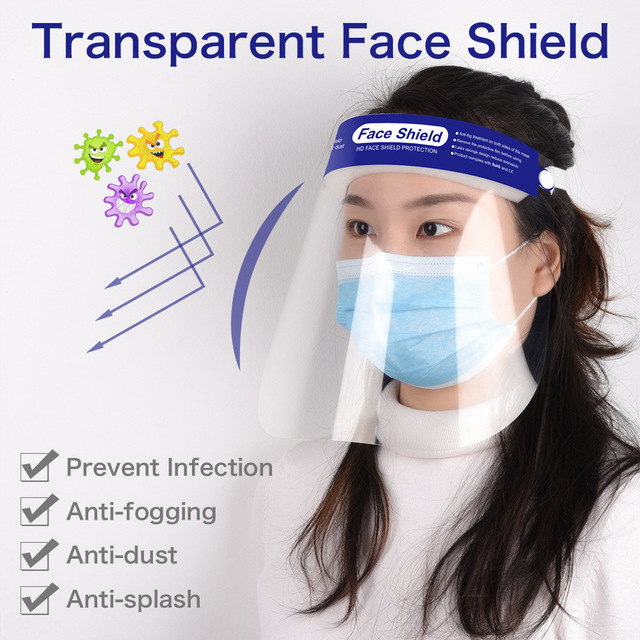 PET Face Shield Men Woman Hat Face Mask Anti-splash Anti-dust Anti-virus Protective Hat Mask Prevent Fluid Splashing 2pcs/bag