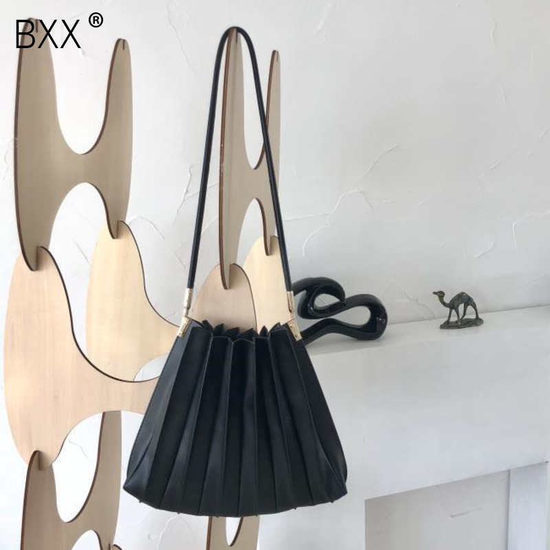 [BXX] Women PU Leather Pleated Shopping Bags 2020 Spring Fashion Female Shoulder Bag Environmental Handbag Reusable Totes HK588