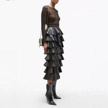 Nueva falda de invierno elegante de 2019 de alta calidad con volantes de cuero PU faldas negras Crop mujeres de alta cintura Midi moda Casual largo faldas