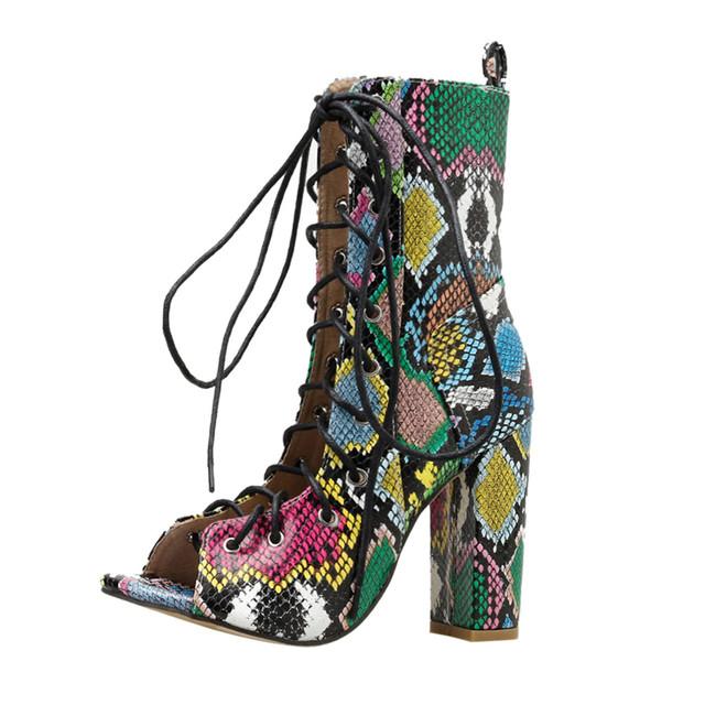 Serpentine Peep Toe Platform High Heels
