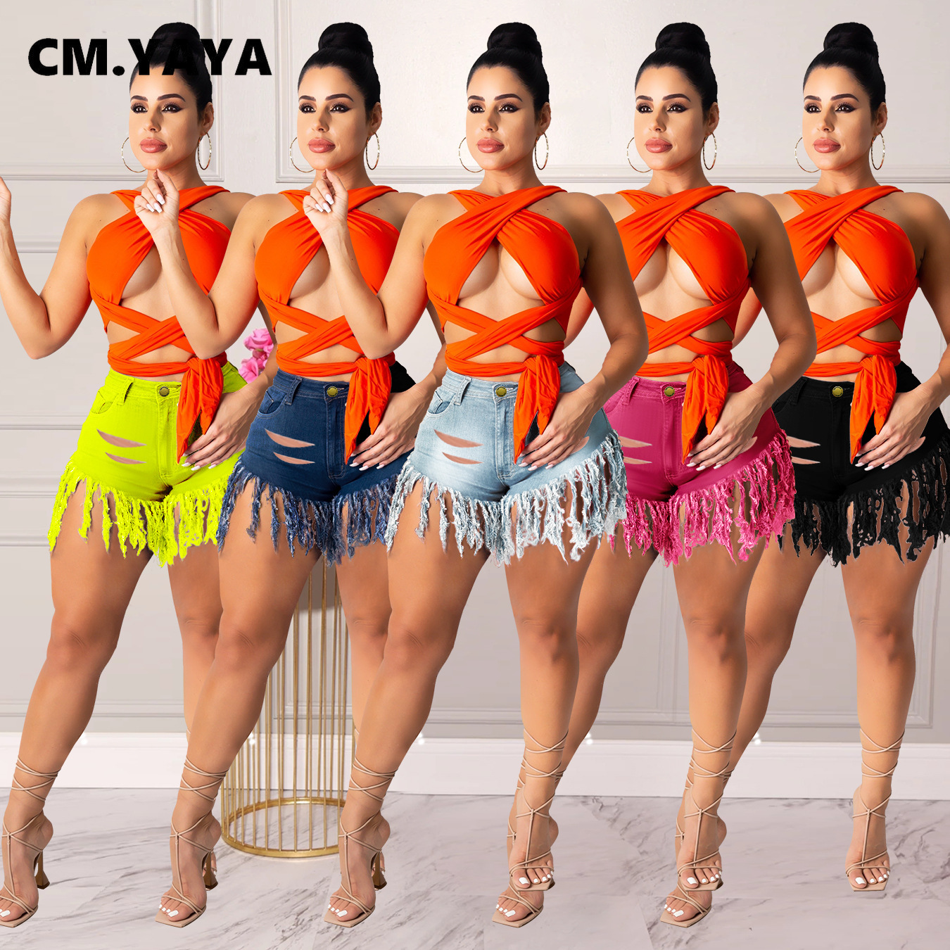 CM.YAYA Frauen Jeans Shorts Mid Taille Zip Taschen Quaste Elastische Denim Shorts Sexy Nacht Club Hosen High Street Sommer 2021