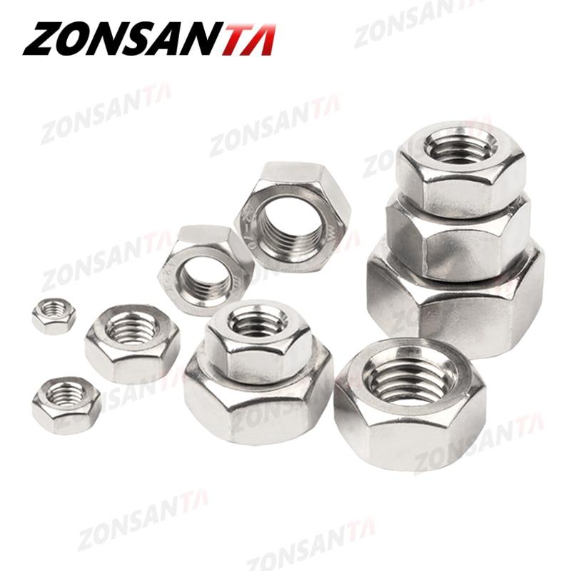 ZONSANTA Metric 304 Stainless Steel Hex Hexagon Nut DIN934 M1 M1.2 M1.4 M1.6 M2 M2.5 M3 M4 M5 M6 M8 M10 M12 M16 M20 Screw Nuts|Nuts|   - AliExpress