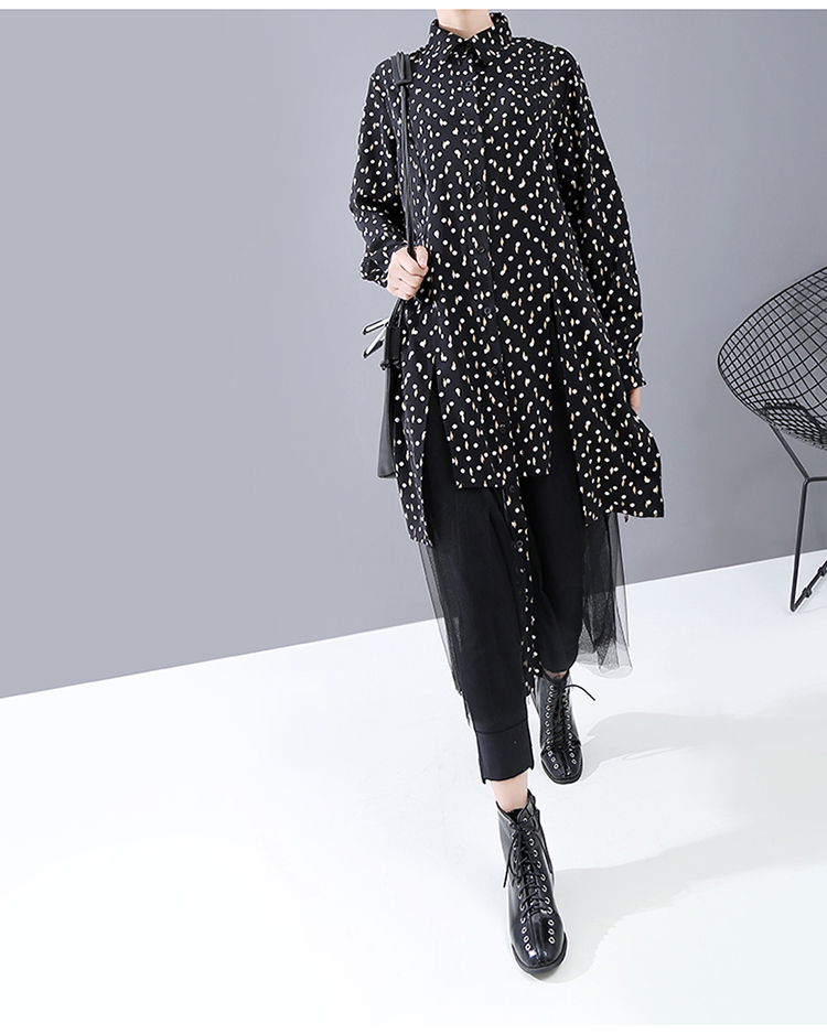 New Fashion Style Mesh Joined Split Hem Snowflake Printed Robe Dress Fashion Nova Clothing