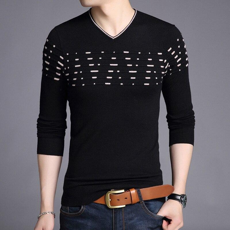 New Men's Streetwear Sweater 2020 Autumn Winter Male Fashion Casual V-neck Sweaters Pattern Printing Sweatshirt Pullovers G052