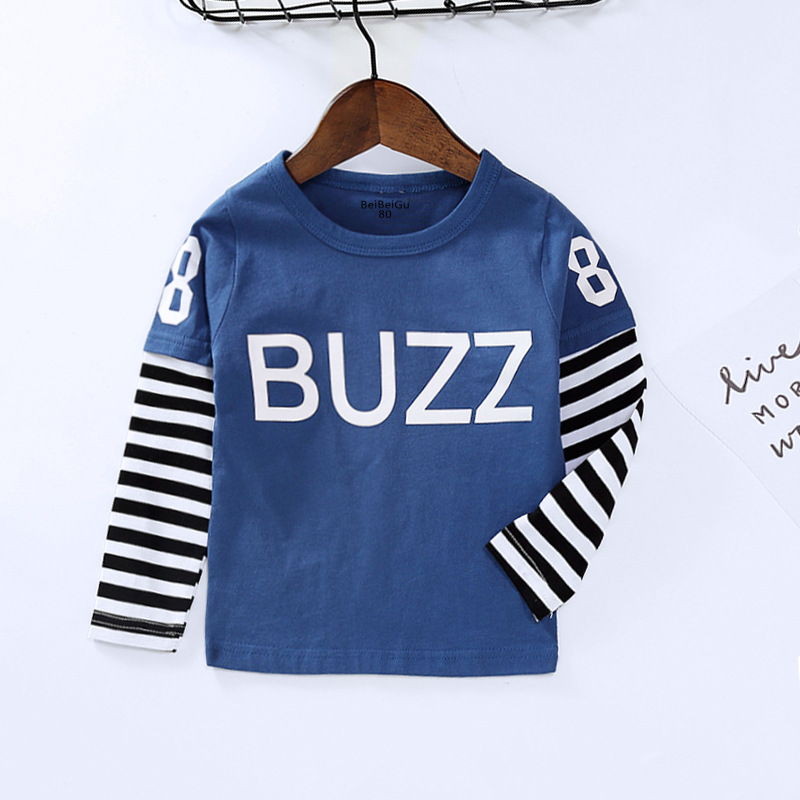 Kids Clothes Autumn New Style Childrenswear KID'S T-shirt Pure Cotton Long Sleeve Children Mock Two-Piece Tops Korean-style