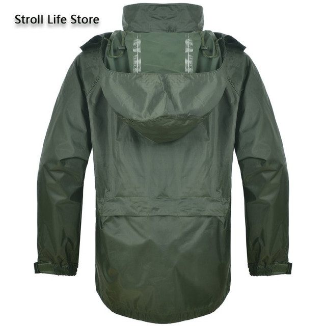 Outdoor Green Raincoat Set Men Rain Pants Handed Over Package Motorcycle Rain Coat Military Poncho Rainwear impermeable gift