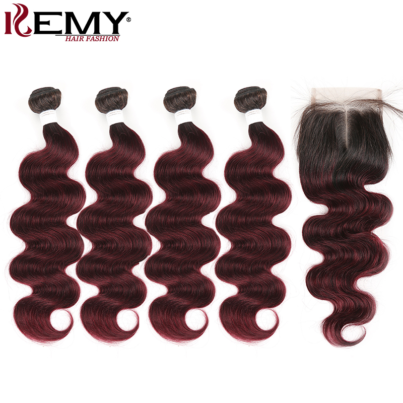 Brazilian Body Wave Hair Bundles With Closure 4x4 KEMY HAIR 1B/99J Ombre Human Hair Weave Bundles Non-Remy Hair Extension