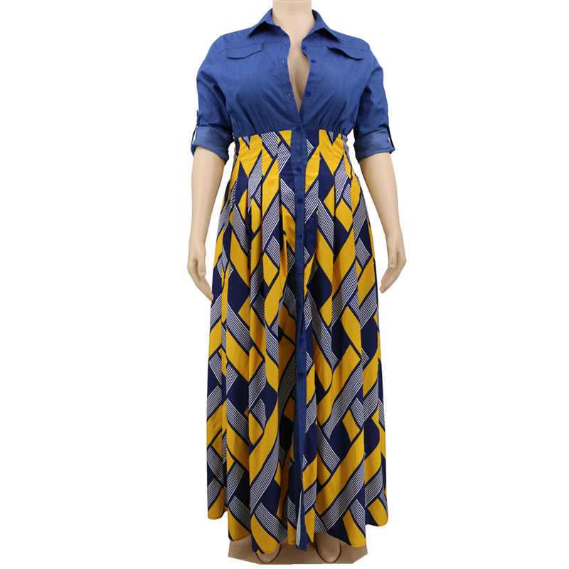 Africano plus size xxxl maxi vestido feminino manga comprida casual cor bloco amarelo sexy outono escritório de cintura alta vestidos camisa longo
