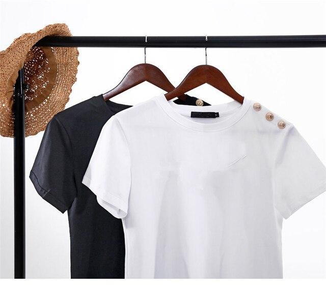 100% Cotton Women Cotton Shirts Summer Letter T-Shirt Female Short Sleeve Tees Ladies Casual Tops O Neck Harajuku Shirt 1