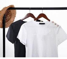 100% coton Femmes Chemises En Coton D'été Lettre T-Shirt Femme T-shirts À Manches Courtes Dames Décontracté Hauts O Cou Harajuku Chemise