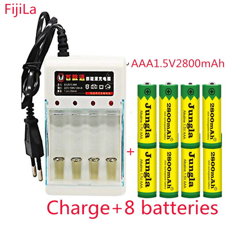 AAA 1.5V 2800 mah rechargeable battery AAA 1.5 V 2800 mah Rechargeable Alcalinas drummey +1pcs 4-cell battery charger image