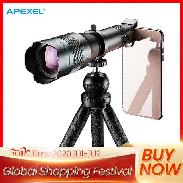 APEXEL HD 60X الهاتف عدسة الكاميرا عدسة مجهر سوبر آلة تكبير تليفوتوغرافي أحادي + ترايبود قابلة للتمديد مع جهاز التحكم عن بعد لجميع الهواتف الذكية