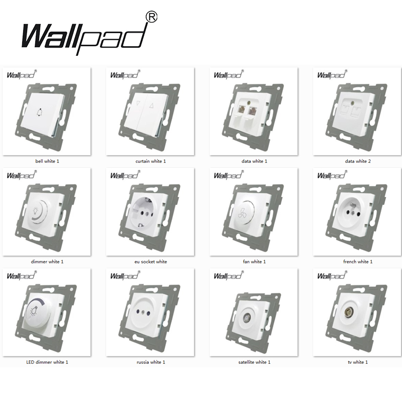 lowest price EU Standard Socket with Claws Wallpad White Glass Panel Schuko EU European Standard Plug Wall Power Socket with Haken