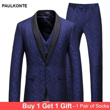 PAULKONTE (Jacket+Vest+Pant) Flower Print Men Suit Fashion High Quality Slim Fit Business Dress Wedding Party Classic Mens