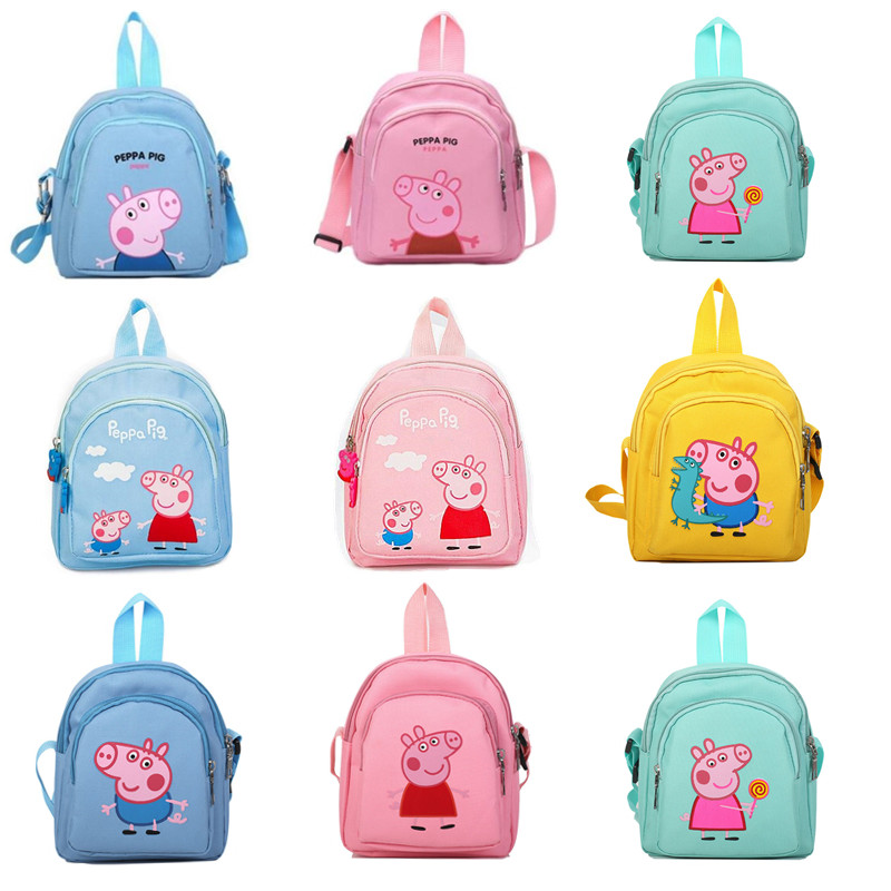 New Peppa Pig Little Girl Anime Fashion Wallet Backpack Toy Kawaii Boys And Girls Backpack Bags Mobile Phone Bag Birthday Gift