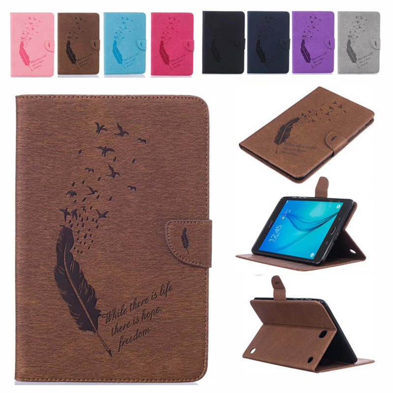 Feather Print PU Leather Flio Book Style Case For <font><b>Samsung</b></font> Galaxy <font><b>Tab</b></font> <font><b>A</b></font> 8.0 <font><b>T350</b></font> T355 SM-T355 8'' P350/355 smart Tablet Cover image