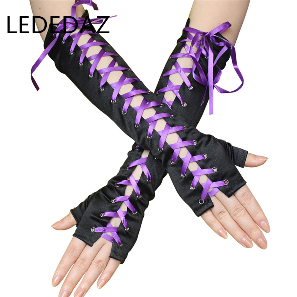 1 Pair Sexy Ladies Elbow Ribbon Tied Nightclub Gloves Tight Satin Party Gloves Black Purple Red Fashion Punk Gothic Gloves 36cm