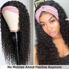 Headband Wig Human-Hair Curly Black Remy Full-Machine Natural-Color Women Malaysian