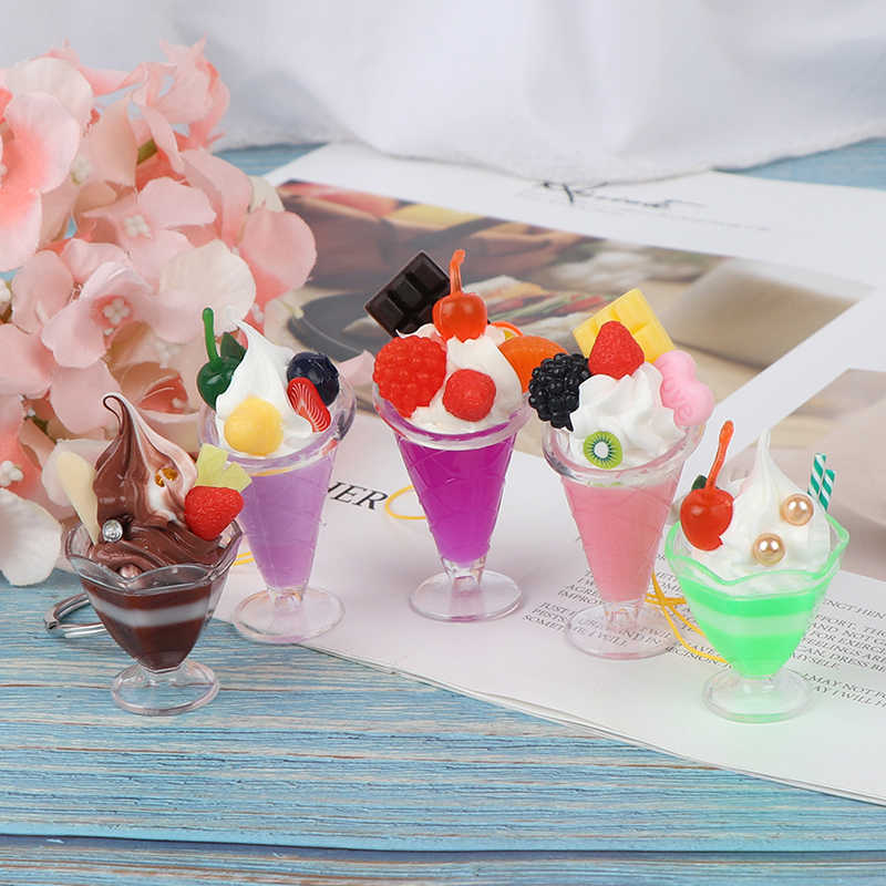 Dollhouse Miniatureเครื่องดื่มถ้วยไอศครีมชุดPretend Play MiniอาหารFit Play Houseของเล่นตุ๊กตาอุปกรณ์เสริม