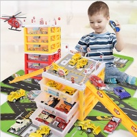 Children's Multi layer Track Car Model with Receiving Box Parking Map Alloy Car Toy Set
