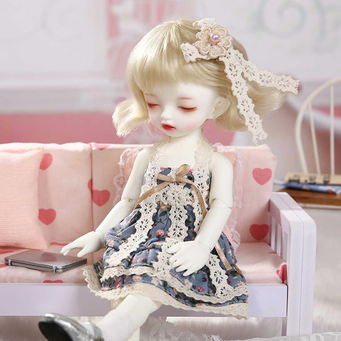 ¡Novedad de 1/6! Pantalones vaqueros muñeca BJD conjunto de bebé durmiente con zapatos de peluca-piel blanqueadora (sin globo ocular)