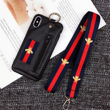 Bee Luxury Phone Cases With Cord Wallet Case Holder Cover Leather For iPhone X XR XS Max 6 6s 7 8 Plus