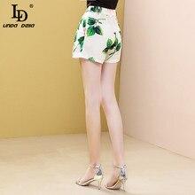 LD LINDA DELLA Summer Fashion Runway Women Shorts Single Buckle Fly High Waist Rose Flower Print Beach Style Ladies Shorts