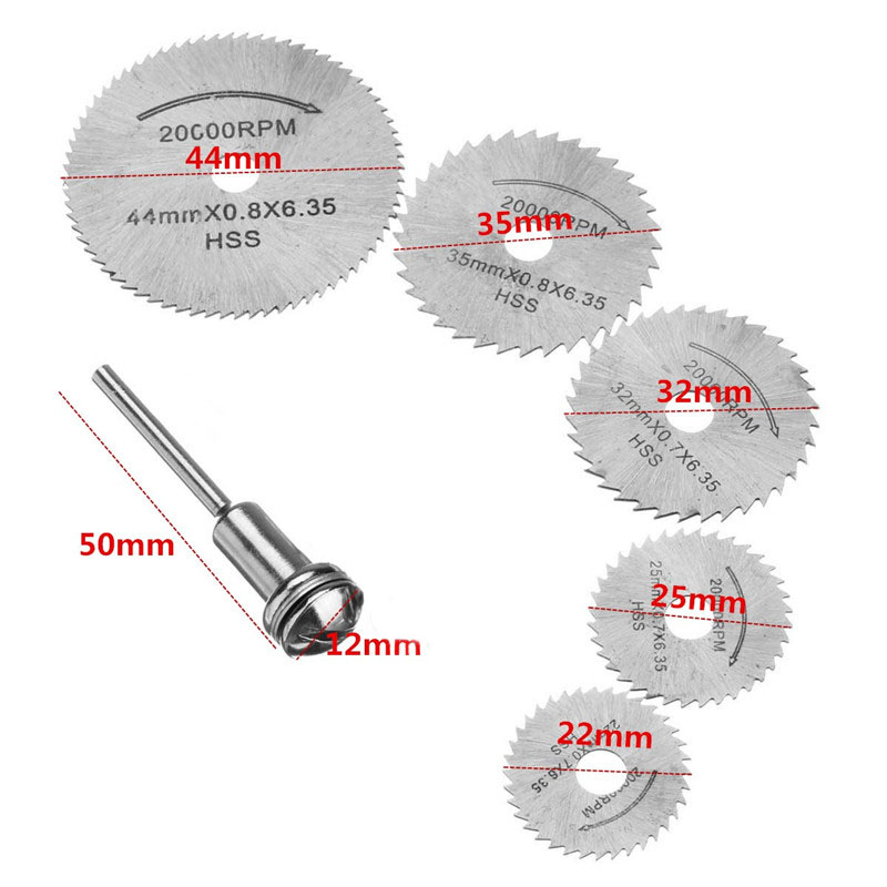 Combiubiu 5pcs HSS Circular Wood Cutting Saw Blade Discs With 1 Mandrel For Dremel Rotary Tool For Dremel Metal Cutter Blades