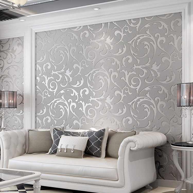 European Style Luxury 3D Relief Suede Wallpaper Trumpet Creeper Leaf Nonwoven Fabric Bedroom Background Of Television In The Dra