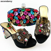 Latest Design African Women Party Shoes with Bag Set with Rhinestone Women Shoes Summer 2019 High Heels Open Toe women Sandals