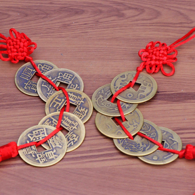 Besegad fait à la main chinois noeud gland pendentif avec 5 pièces Feng Shui pièces richesse succès porte-bonheur maison voiture cintre décors
