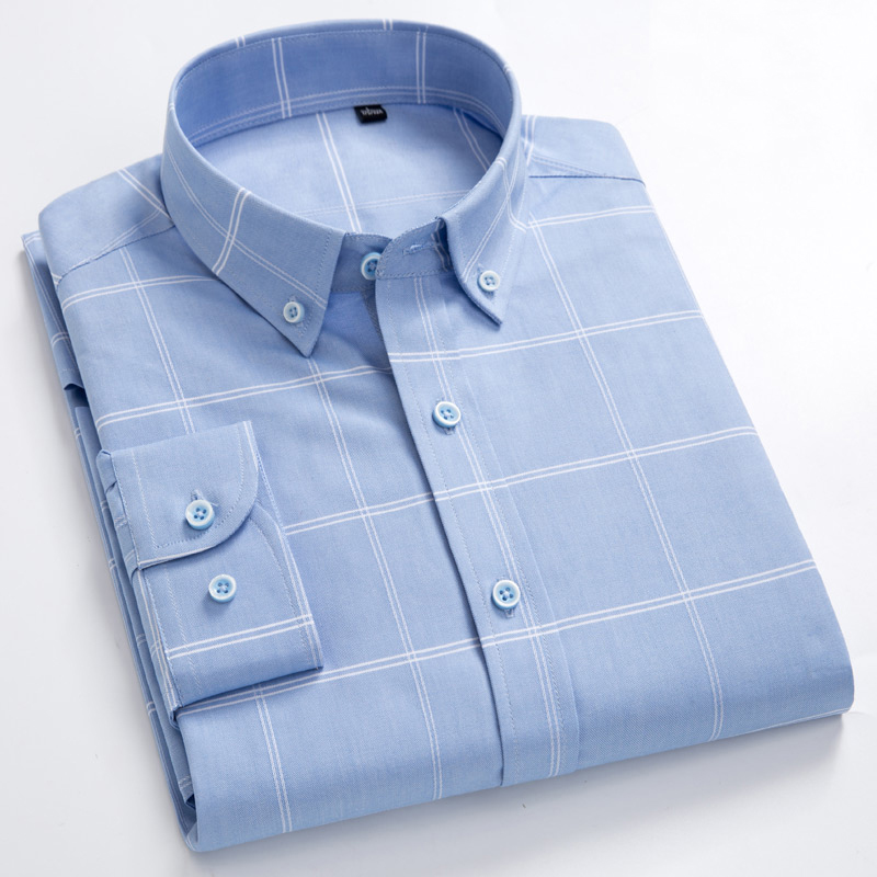 Men's 100% Cotton Long Sleeves Shirt Big Plaid Turn-Down Button Collar Shirt High Quality Stripes Casual Shirts Plus Size S-8XL