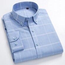 Men's 100% Cotton Long Sleeves Shirt Big Plaid Turn-Down Button Collar Shirt High Quality Stripes Casual Shirts Plus Size S-8XL стоимость