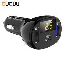 32W QC 3.0 Car Charger 3 USB Type C Ports For Phone Fast USB Car Charger For iPhone LED Quick Charging For Xiaomi Voltmeter CHK(China)