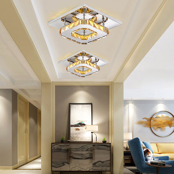 Retro luxury modern lighting crystal LED ceiling lamp bedroom chandelier tricolor dimmable indoor