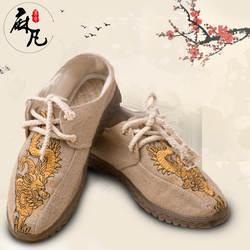 Этно-Стиль резиновая подошва Для Мужчин's льняные туфли ретро литература и искусство китайско-Стиль вышитые печатные Для мужчин;