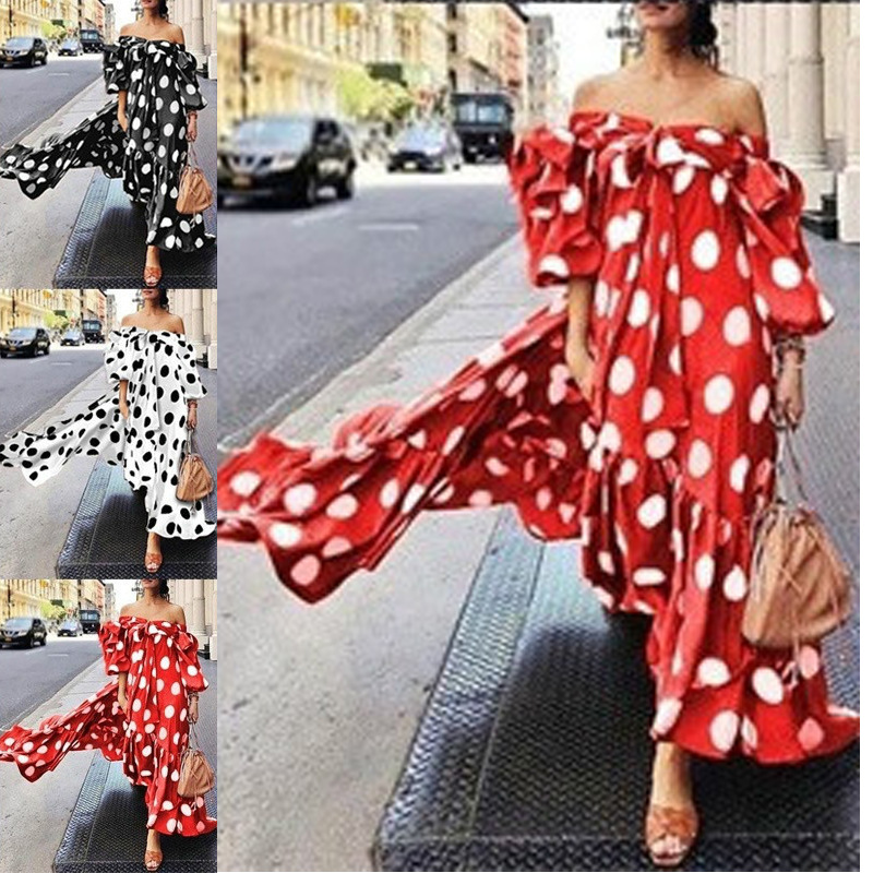 Sexy Women Print Dot Dress Bandage Off Shoulder Sundress Beach Abaya African Dashiki Hijab Muslim Kimono Long Robe Gowns Boho